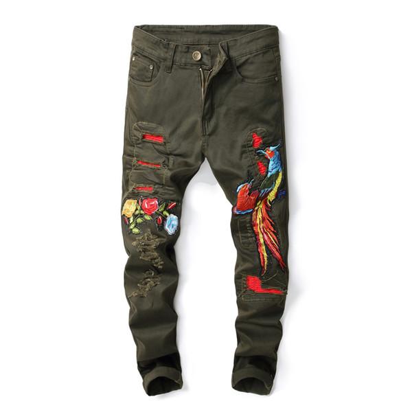 Moda Hi Street Uomo Strappato Jeans Biker Phoenix Ricamo Slim Fit Distressed Denim Pantaloni Pantaloni Uomo Verde Army, 573 #