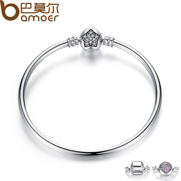 BAMOER Authentic 100% 925 Sterling Silver Snake Chain Bracelet & Bangle Pave Star Cubic Zirconia CZ DIY Jewelry C18122801