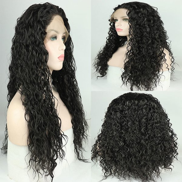 180% Density Black Loose Curly Synthetic Hand Tied Lace Front Wig Heat Resistant Fiber Hair Free Parting For Women