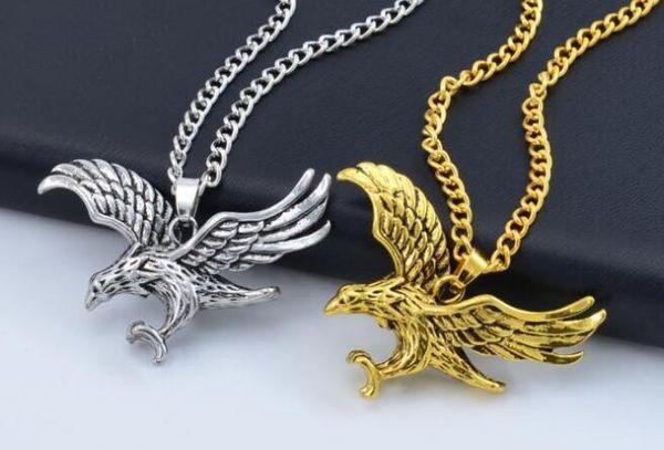 Hawk águila colgantes collar oro color de plata acero inoxidable Animal Hawk Bird Wing Charm Retro Punk Hip Hop hombres mujeres joyería