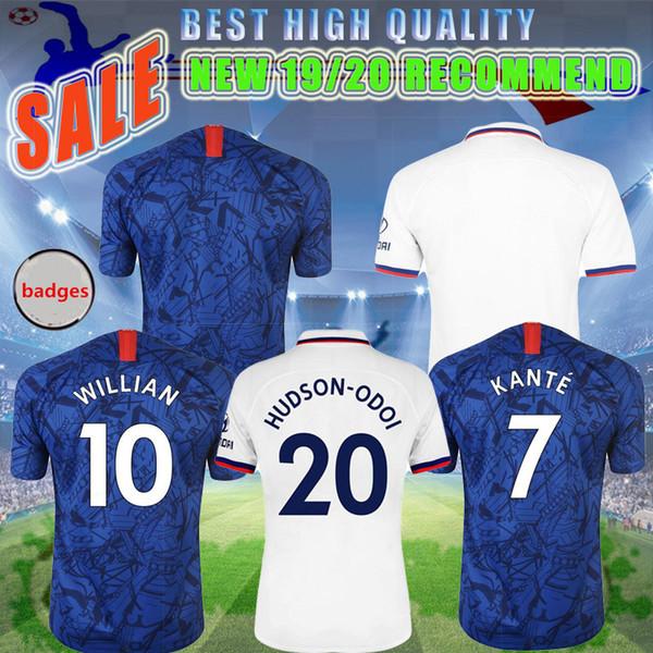 A última versão da temporada 2019 de WILLIAN JORGINHO PULISIC jersey em casa personalizado de alta qualidade HIGUAIN GIROUD KANTE uniformes de futebol