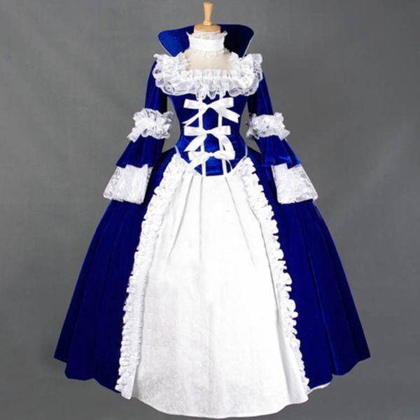 Abito vittoriano rinascimentale Lolita Long Ball Gown in flanella Retro abiti vintage maniche lunghe Donna Halloween Party Clothing