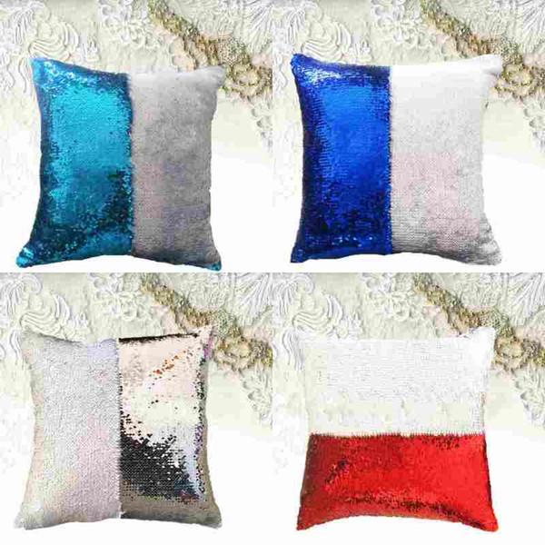 top popular Reversible Glitter Mermaid DIY Sequins Cushion Cover Throw Pillow Cushion Cover Car Home Sofa Decoration Pillowcase 2019