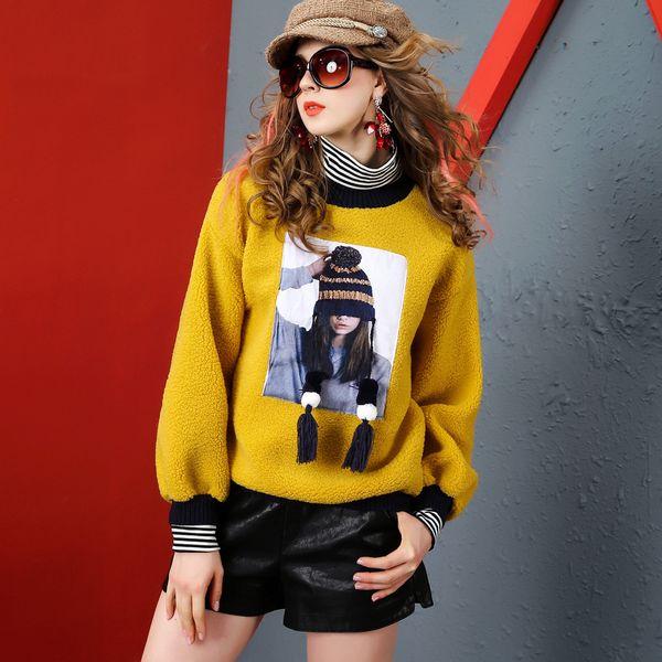 2019 yeni moda bluz Avrupa istasyonu kuzu saç boncuk boncuk gevşek ince kalın kadife