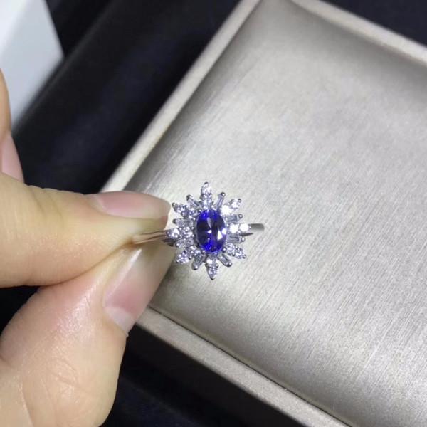 Uloveido Doğal Tanzanit Yüzük Kadınlar için, 925 Ayar Gümüş Düğün Takı, Kadife Kutu Sertifika ile 5 * 7 m Taş FJ228
