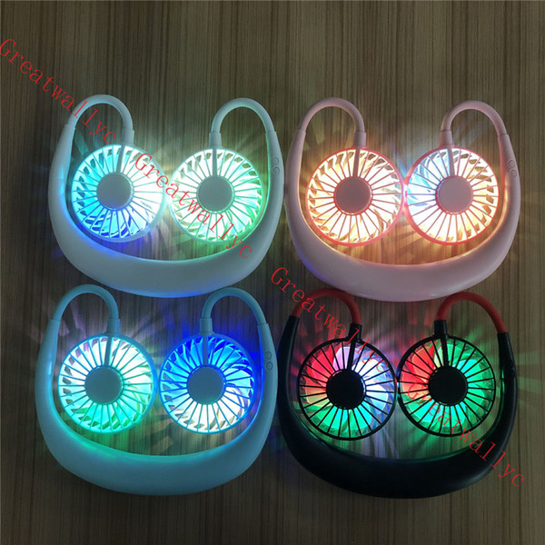 best selling USB Portable Fan Hands-free Neck Hanging USB Charging Mini Portable Sports Fan 3 Gears Usb Air Conditioner Fans With Lights
