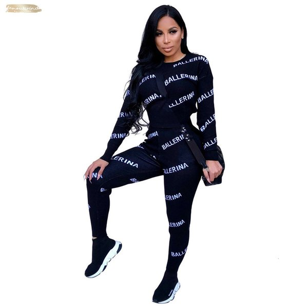 Sleeve Full Tracksuit Women Set O-Neck Letter Print Winter Lady Fashion Sexy Two Pieces Suits Casual Overall K8654