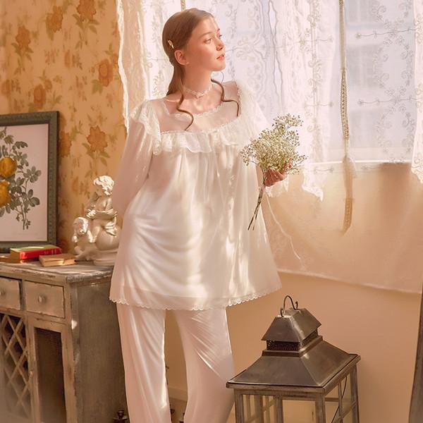 2019 Sexy Princess Women Pajamas Ladies Square Neck Lace Night Suits Vintage Pajama Set White Night Wear Home Suit Sleepwear Set