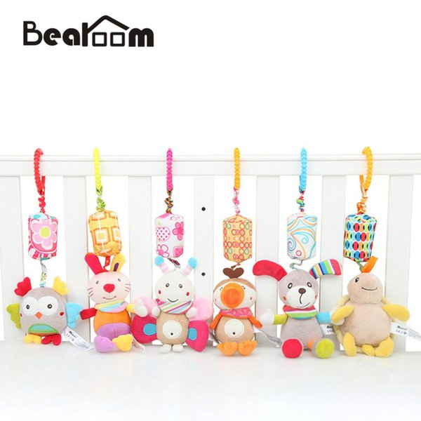 Bearoom Rattle Toys For Baby Cute Puppy Bee Stroller Toy Rattles Mobile For Baby Trolley 0-12 Months Infant Bed Hanging Gift
