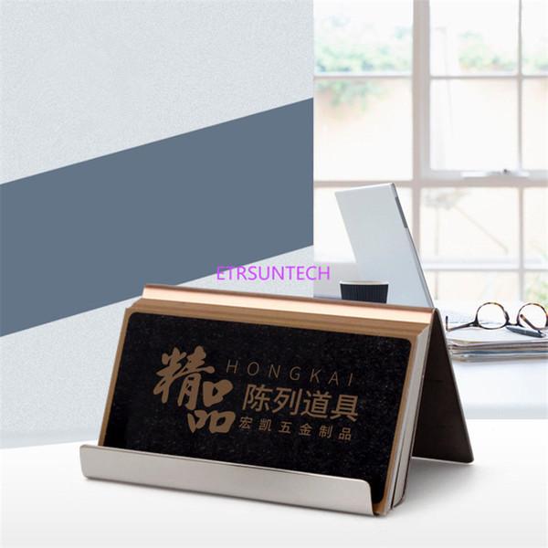 Modern Paslanmaz Çelik Kartvizitlik Adı Kart sahipleri not tutucu Ekran Standı Saten Finish Lüks Masaüstü Standı Kılıf