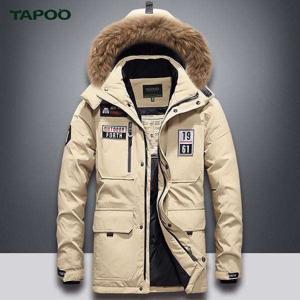 Men's down jacket long thickened white duck jacket coat men winter warm hooded big hair collar coat male