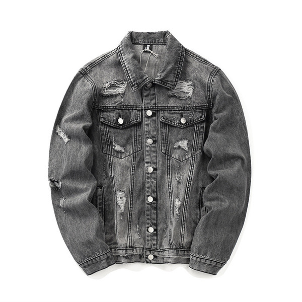 Mens Designer Jacket Denim High Street Brand Men's jackets With Embroidered Letters Wash Water Holes Old Style Denim Jacket