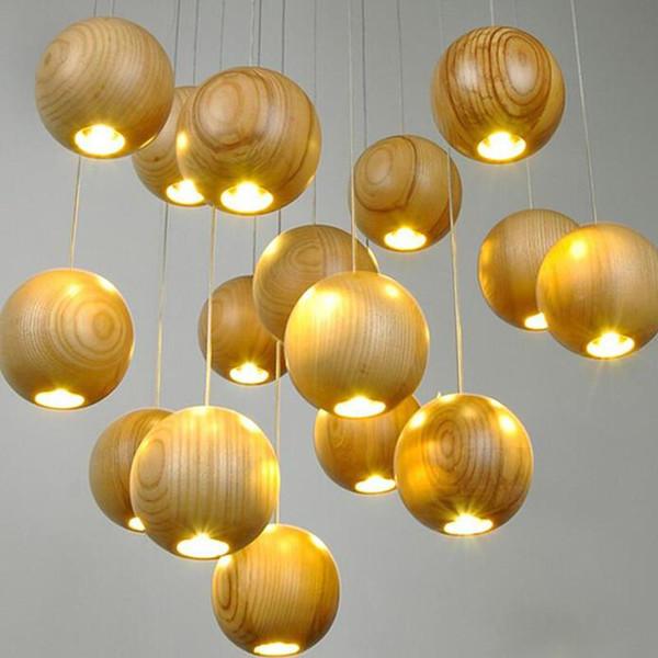 Moderna in legno massiccio lampadario pendente della sfera creativa di legno della lampada LED di legno del pendente Meteoric Luce Doccia Stair Light Restaurant luce di soffitto