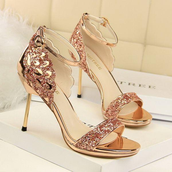 Summer High Heels Sandals Women Luxury Bling Fashion Platform Open Toe Sexy Stiletto Party Ladies Shoes Big Size Sandalias Mujer