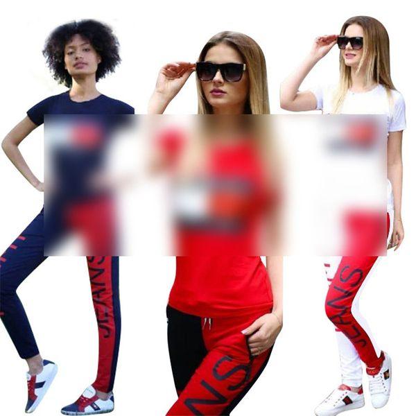 T M Brand 2 Piece Woman Set Luxury Designer Tracksuits Crew Neck T-shirts Top + Color Match Pants Leggings Casual Sports Suit S-XL C61401