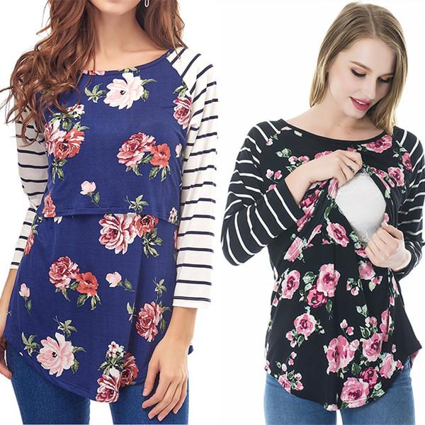 T-shirt da donna a righe tees maternità primavera autunno a maniche lunghe stampa floreale T shirt donna incinta splice allattamento al seno vestiti C5789