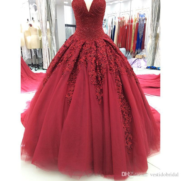 2018 Luxury Burgundy Black Girl Vestidos 15 Anos Burgundy Quinceanera Sweet 16 Dresses Beading Tulle Formal Prom Party Wear Evening Gown Cheap
