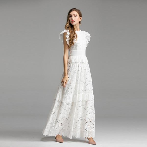 Vestido largo de pasarela de diseñador de moda más nuevo de alta calidad 2019 Vestido largo de encaje de algodón con manga de mariposa para mujer
