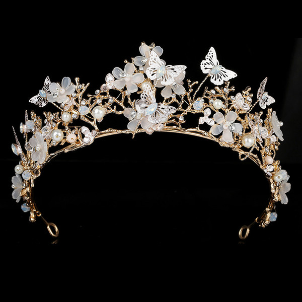 best selling Tiaras And Crown HADIYANA Romantic Butterfly Design Women Wedding Party Princes Zircon BCY8890 Accesorios para el cabello