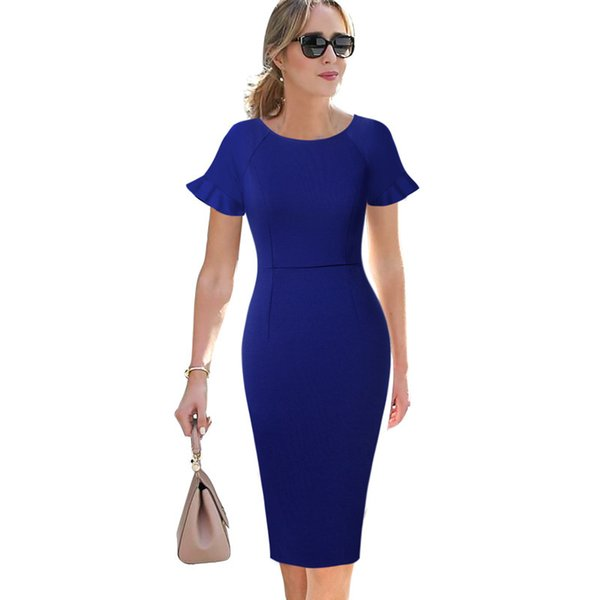 Vfemage Womens Elegant Ruffle Flutter Sleeves Casual Wear To Work Business Office Cocktail Party Bodycon Pencil Sheath Dress 503 Y19052901