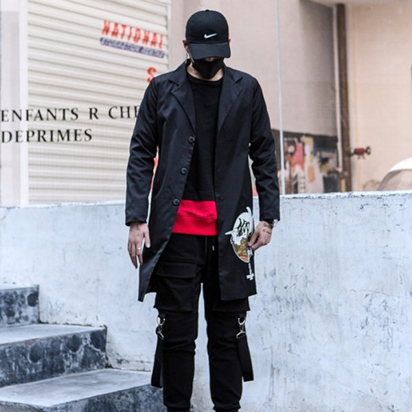 Autumn Casual Long Trench Coat HIP HOP Men Jacket Overcoat Harajuku Vintage Gothic Clothing Men Printed Coats Black Blazers