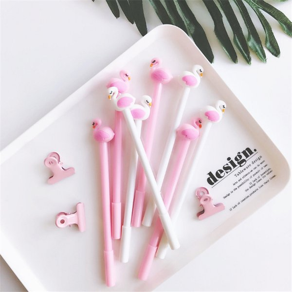 top popular 50pcs Pink flamingo black pen wedding gifts for guests birthday party decorations kids Gift for Home Party Favors Supplies. 2019