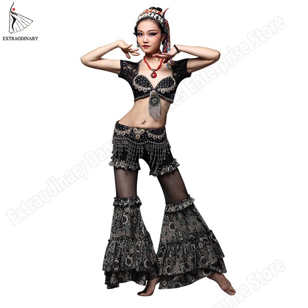 ATS Belly Dance Tribal Top Belt Pants Disfraces Set Gypsy Women Stage Performance Tribal Bra Hip Scarf Bead Lace Ropa