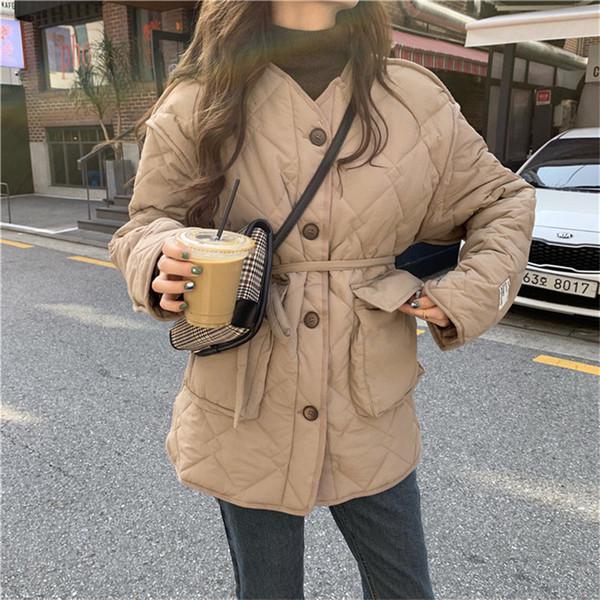 HziriP Chic Корея вскользь куртки Soft Lace-Up Хлопок Tops All-Match Стильный Сыпучие Толстые женщины зима теплая мода пальто и пиджаки