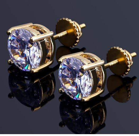 best selling Mens Hip Hop Stud Earrings Jewelry High Quality Fashion Round Gold Silver Simulated Diamond Earrings For Men gift seller a5251