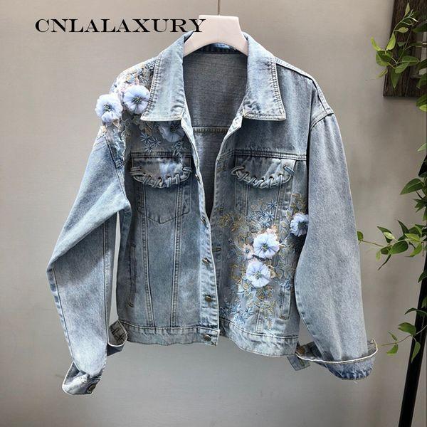 New Autumn Women Slim Embroidered Lace Flowers Long Sleeve Denim Jacket Coat Frayed Studded Women's Jeans Coat Jacqueta