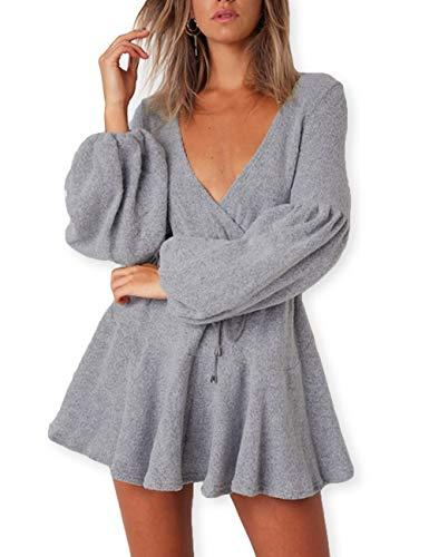 e8db20ea675 AOOKSMERY Women Deep V Neck Puff Sleeve Knitted Sweater Mini Dresses ...