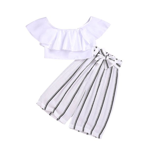Ins Fashion girls outfits kids designer clothes girls suits Summer white blouse+loose pants 2pcs girls clothes kids clothes A6277