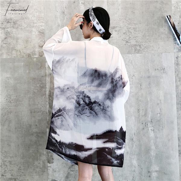 Cinese Harajuku stile delle cifre Stampa Estate Kimono altezza Cardigan Feminino Cappotti protezione solare femminile Camicie Abbigliamento da donna