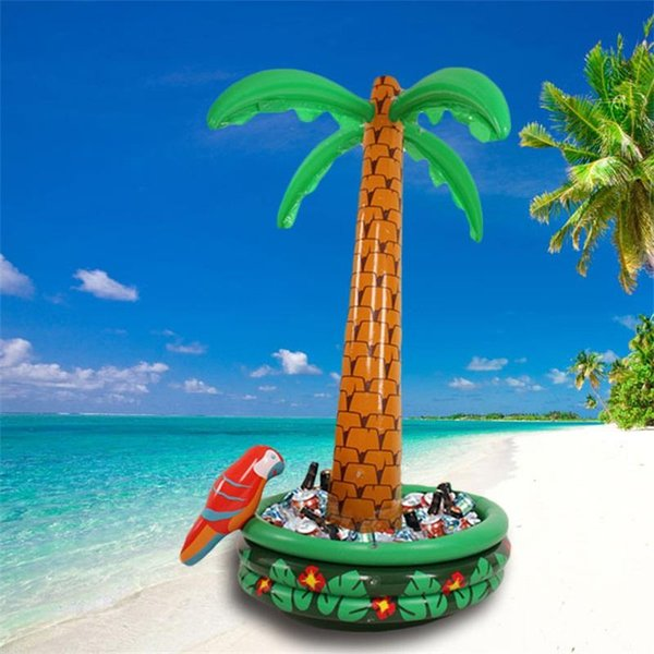 top popular Coconut Tree Ice Bucket Inflatable Party Cooler Salad Bar Home Furnishings Camping PVC Green Universal Eco Friendly 47wf C1 2019