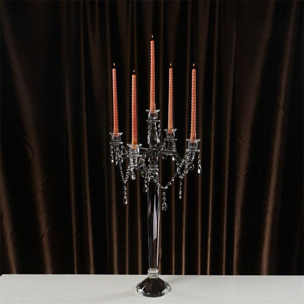 80cm Tall Romantic Transparent Crystal Candelabros Centre DE Table Mariage Candle Holders For Decorations Masion