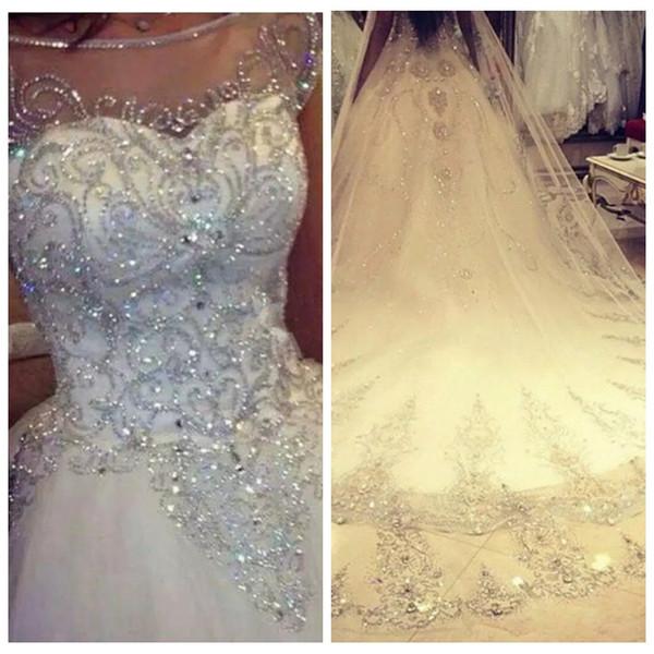 Бальное платье свадебные платья 2019 Новый великолепный Ослепительная Princess Bridal Real Image Роскошный тюль ручной работы Стразы Кристалл Sheer Топ