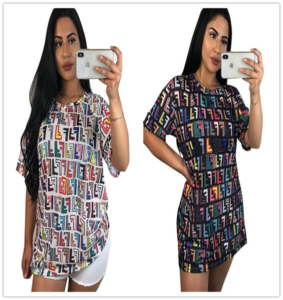 FF Letter Designer t shirt Dresses Fends Brand Casual Top Tees Skirt Luxury Fashion One Piece Dress Womens Clothing Plus Size Desses C71107