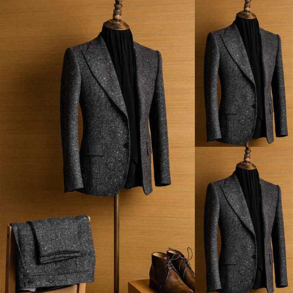 Men's Tweed Dark Gray Suits Regular Fit 2 Piece Wool Blend Vintage Tailored Fit Groom Tuxedos Jacket Pants