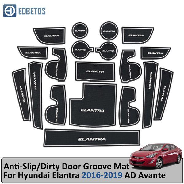 Anti-Slip Mat For Elantra 2016 2017 2018 2019 AD Avante Super Elantra Sport Gate Slot Coaster Anti-Dirty Door Groove Mat