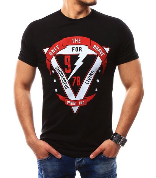 New Short Sleeve Slimple Print T Shirt O-Neck Slim Men T-Shirt Tops Fashion Mens Tee Shirt T Shirts Plus Size XXXXL