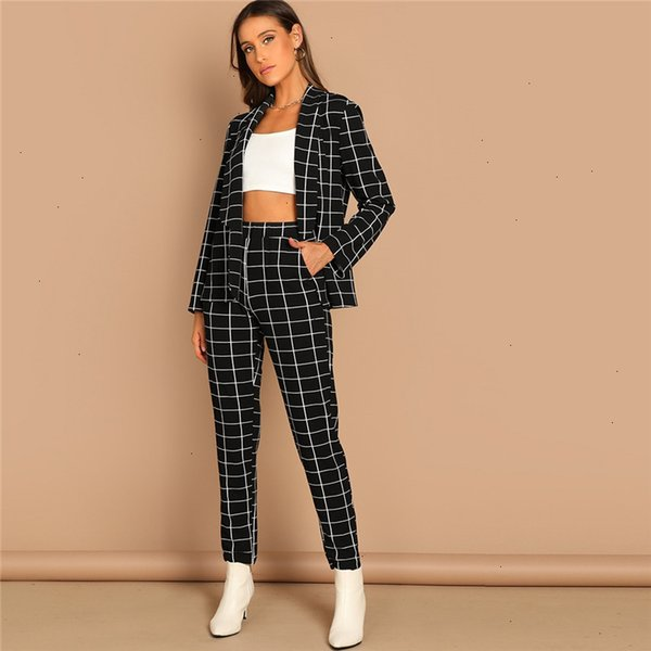black grid print shawl collar plaid long sleeve blazer pants set women autumn workwear morden lady twopiece