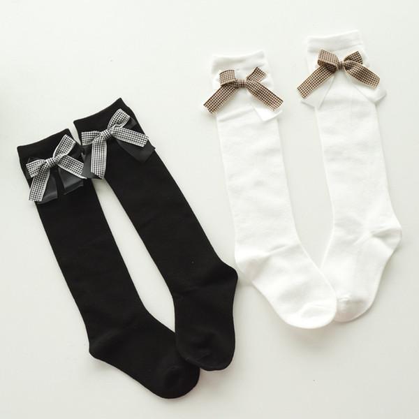 Baby Kid Socks Girl Children Cute Princess Solid Color Lace plaid Bow Tie Patchwork Girls Knee High Long Socks Girls Knee Socks