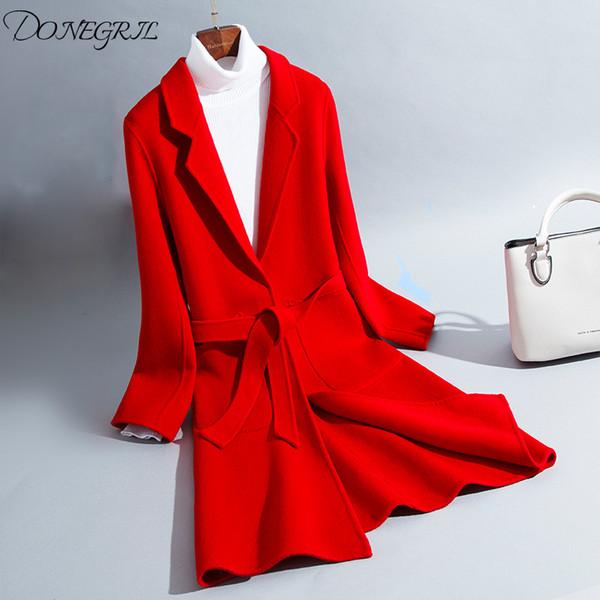 Çift Taraflı Kaşmir Ceket Casaco Feminino Yün Ceket Sonbahar Kış Coat Kadınlar Bez 2019 Kore Zarif Ince Moda Uzun