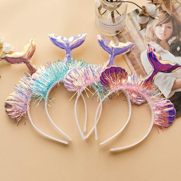 Shell Mermaid Tail Headbands Bright Laser Girls Hairbands Stage Photo Headwrap Hoop Kids Headwear Cosplay Hair Sticks Headband KKA6919
