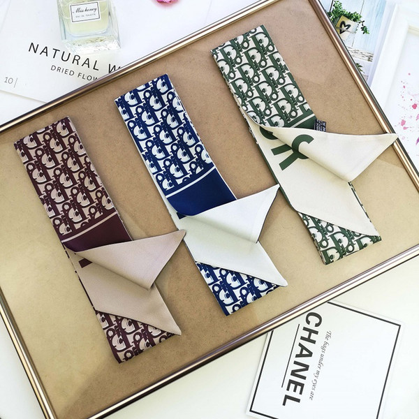 4 colors Designer scarf ladies slim narrow bag handle silk scarf double-sided printed twill satin brand small ribbon