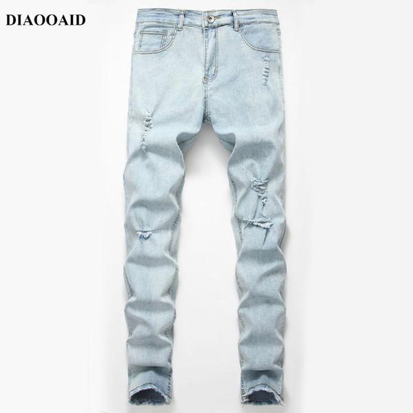 DIAOOAID2019 New Herren Denim Hose Stretch Destroyed Ripped Design Fashion Knöchel Hosen Reißverschluss Röhrenjeans für Herren Denim Hosen