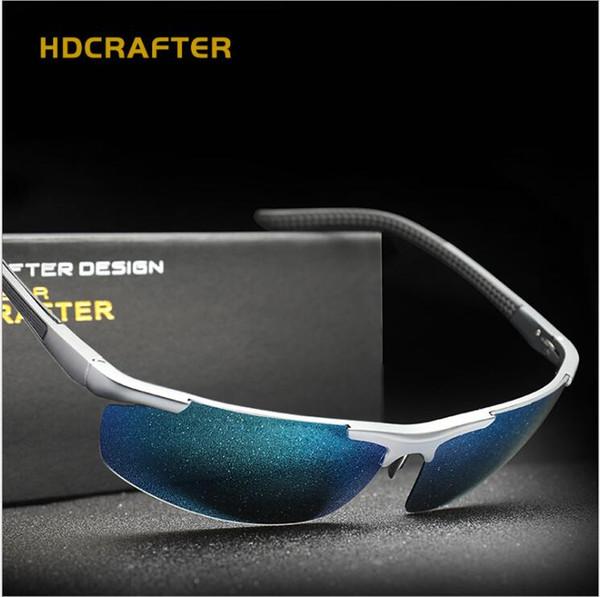 Nuovo! HDCRAFTER Ultimo design occhiali da sole polarizzati telaio in lega di guida anti-riflesso equitazione occhiali da sole ciclismo a prova di raggi ultravioletti all'aperto, confezione regalo