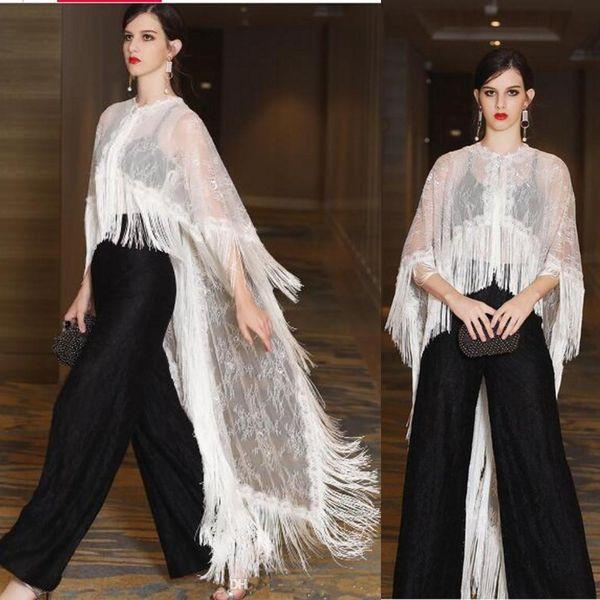 Moda Duas Peças Borla Rendas Vestidos Desgaste da Noite Calças Pretas E Branco Cape Wrap Ilusão Top Árabe Peru Sexy Formal Vestidos de Festa de Formatura