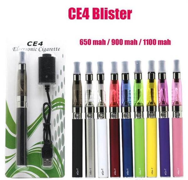 eGo CE4 Blister Statere Kit eGo-T 650mAh 900mAh 1100 mAh eGo Kits E Cigarette Kit Colorful serbatoio atomizzatore CE4