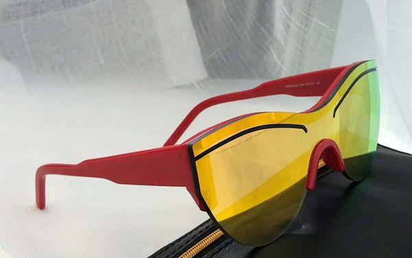 Модные солнцезащитные очки Shiled Red / Gold Зеркальные линзы Очки 0004 / s унисекс Дизайнерские солнцезащитные очки Новые с коробкой